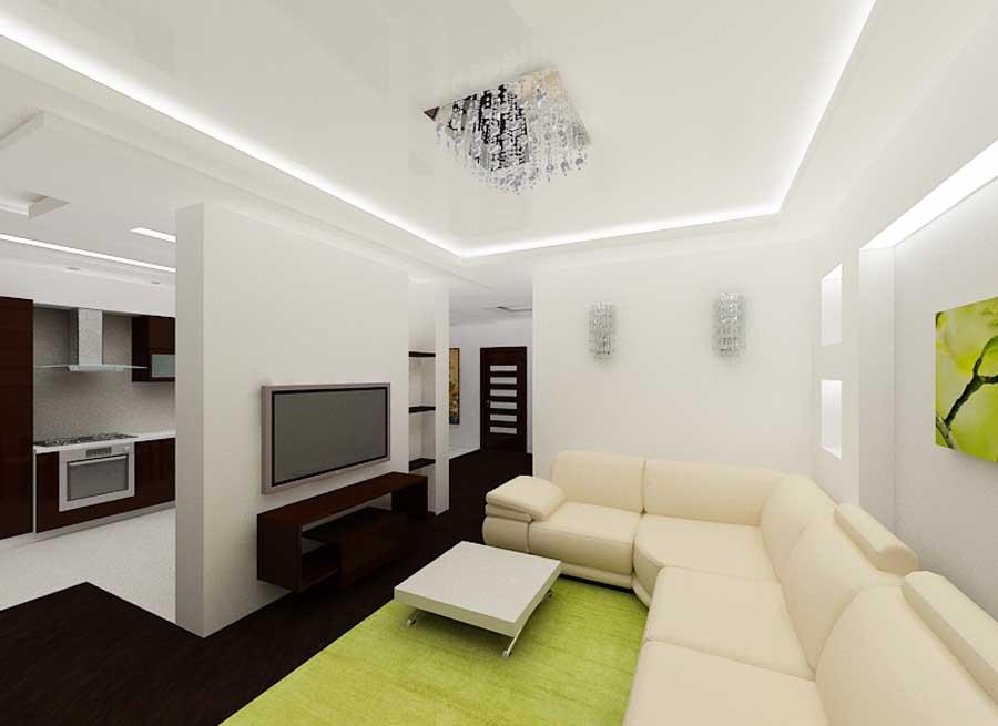 Глянцевый натяжной потолок в зале дизайн фото